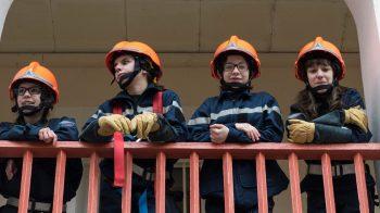 Les jeunes de la section jeunes sapeur-pompiers du collège Sainte-Claire