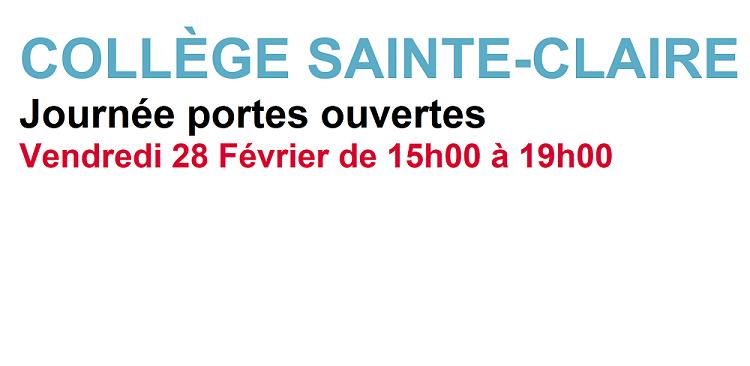 Journée portes ouvertes collège Sainte-Claire